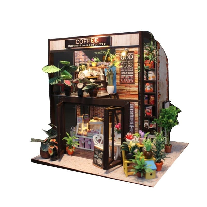 1 child doll house kit miniatures coffee wooden house toy diy miniature dollhouse furnitures casas en miniaturaHappiness is a cup of coffee DIY Dollhouse