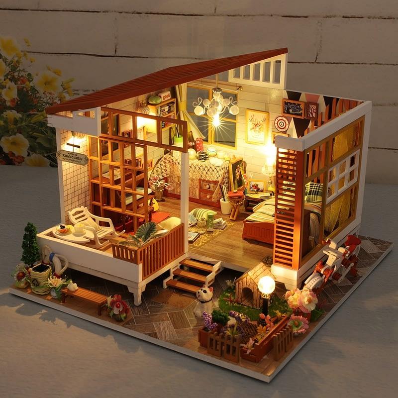 HTB1BS8bayDxK1Rjy1zcq6yGeXXaYWooden Cozy Dollhouse DIY Dollhouse Kit