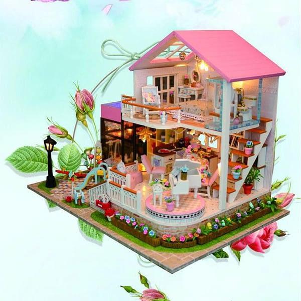 Heaven Light DIY Sweet Wooden Miniature Dollhouse