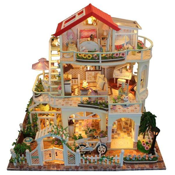 He6be948f68ac4ceca5608b9971992c64B 600x600Princess Villa DIY Miniature Dollhouse Kit